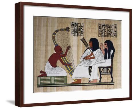 Egyptian Papyrus Depicting Husband and Wife at Blind Harpist Performance--Framed Art Print