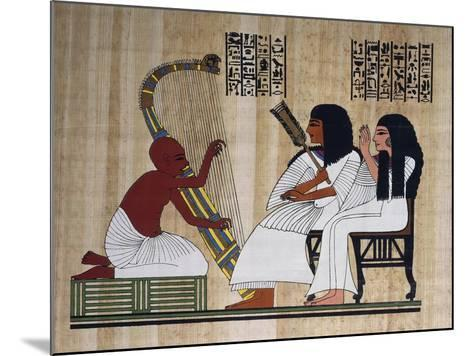 Egyptian Papyrus Depicting Husband and Wife at Blind Harpist Performance--Mounted Giclee Print