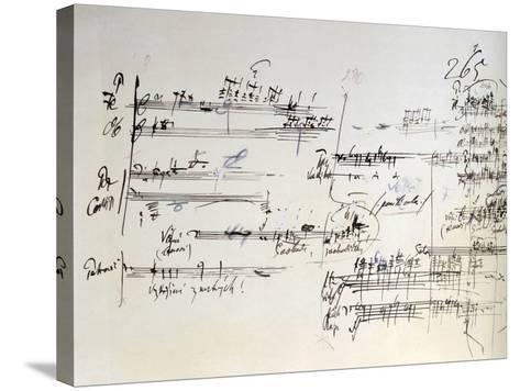 Handwritten Score for House of the Dead, Opera by Leos Janacek--Stretched Canvas Print