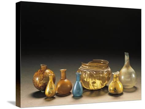 Roman Civilization. Glass Containers of Various Sizes, Ointment Bottles, Containers--Stretched Canvas Print