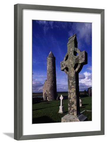Monolithic High Crosses and O'Rourke's Tower in Monastic Complex on Banks of River Shannon--Framed Art Print