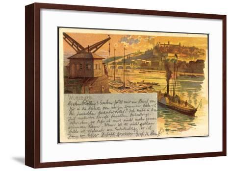 Litho Würzburg, Partie Am Main, Dampfer, Stadtansicht--Framed Art Print