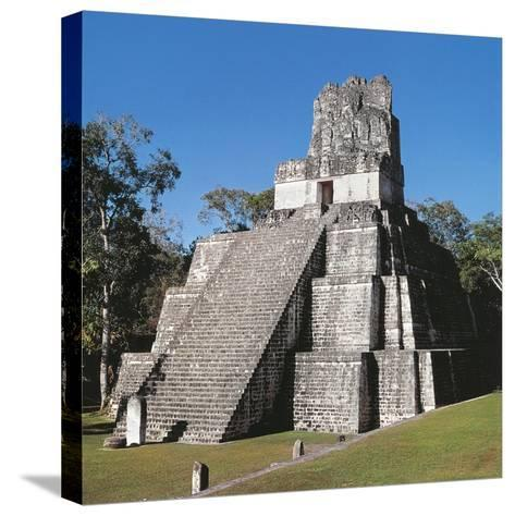 Guatemala, El Peten, Archaeological Site, Tikal National Park, Temple of the Masks or Moon--Stretched Canvas Print