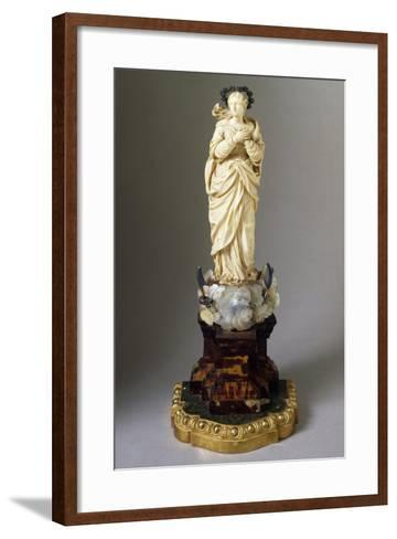 Statue of Our Lady on Cloud, with Snake and Crescent Moon, Ivory, Mother of Pearl and Tortoiseshell--Framed Art Print