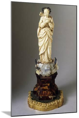 Statue of Our Lady on Cloud, with Snake and Crescent Moon, Ivory, Mother of Pearl and Tortoiseshell--Mounted Giclee Print