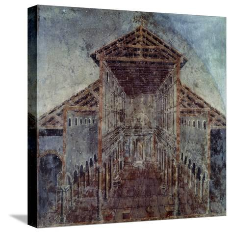 Fresco with the Vatican Basilica, Vatican Library, Vatican City, Early Christian Period--Stretched Canvas Print
