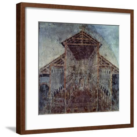 Fresco with the Vatican Basilica, Vatican Library, Vatican City, Early Christian Period--Framed Art Print