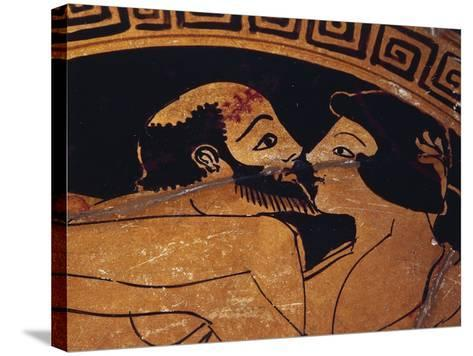 Bowl Decorated with Erotic Scene, Detail of Kiss Between Lovers--Stretched Canvas Print