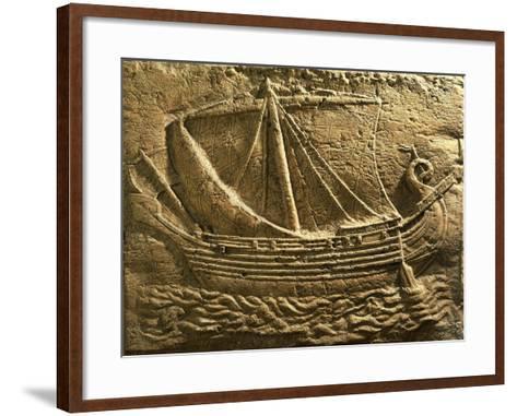Relief Depicting Trade Ship--Framed Art Print