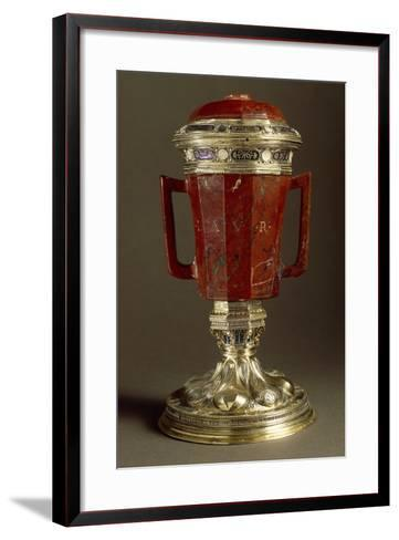 Red Jasper, Enameled Gilded Silver Vase with Two Handles and Lid--Framed Art Print