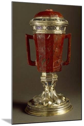 Red Jasper, Enameled Gilded Silver Vase with Two Handles and Lid--Mounted Giclee Print