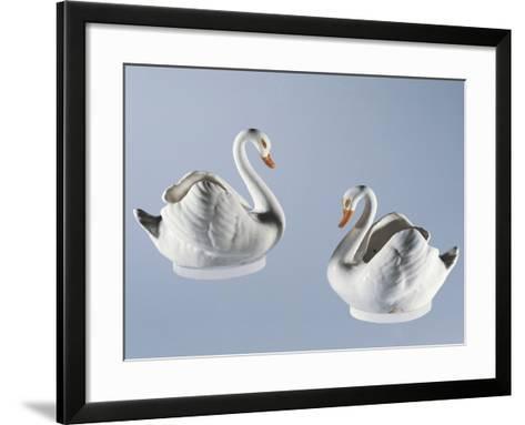 Swan-Shaped Twin Gravy Boats, Majolica--Framed Art Print
