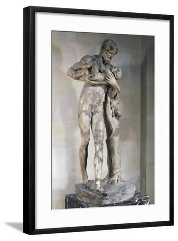 Statue of Silenus with Dionysus in His Arms--Framed Art Print