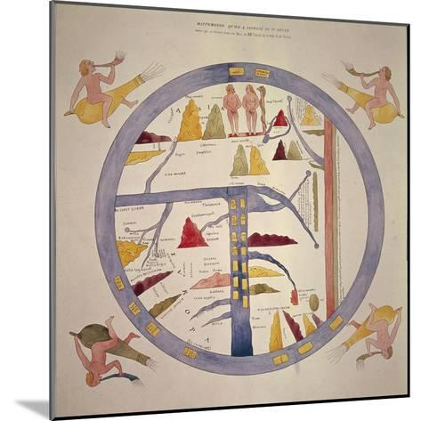 Map Reproduced in Manuscript of 12th Century--Mounted Giclee Print