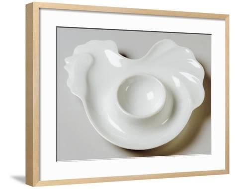 Rooster-Shaped Egg Cup, Ceramic, La Porcellana Bianca, Italy--Framed Art Print