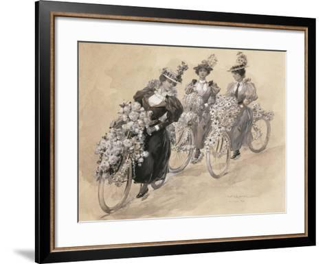 Austria, Vienna Painting of the Bicycle Ride--Framed Art Print