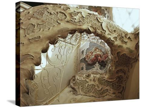 Italy, Sicily, Catania, Palazzo Biscari, the Ballroom, the Gallery, Rococo-Style Staircase--Stretched Canvas Print