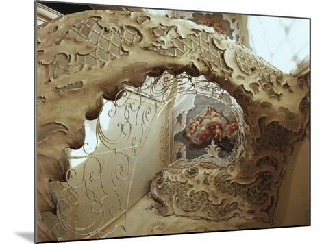 Italy, Sicily, Catania, Palazzo Biscari, the Ballroom, the Gallery, Rococo-Style Staircase--Mounted Giclee Print