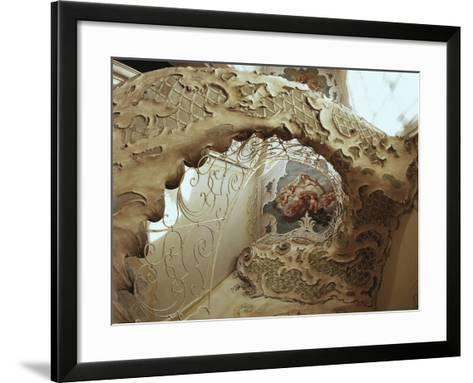 Italy, Sicily, Catania, Palazzo Biscari, the Ballroom, the Gallery, Rococo-Style Staircase--Framed Art Print