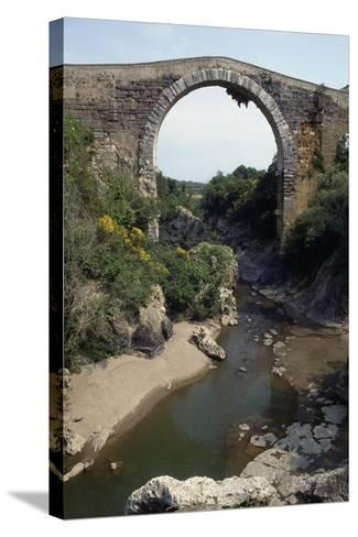 Bridge of Badia on River Fiora, of Etruscan Origin and Remodeled in Roman and Medieval Times--Stretched Canvas Print