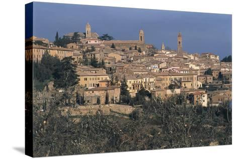 Italy, Tuscany Region, Val D'Orcia, Town of Montalcino on Hill--Stretched Canvas Print