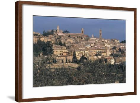 Italy, Tuscany Region, Val D'Orcia, Town of Montalcino on Hill--Framed Art Print