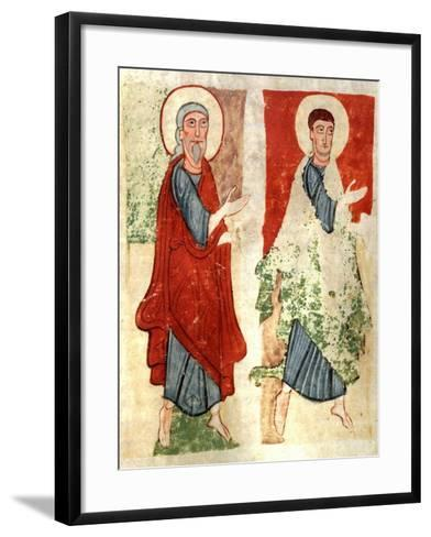 The Apostles Paying Homage to Christ, Miniature from the Atlantic Bible, Manuscript--Framed Art Print