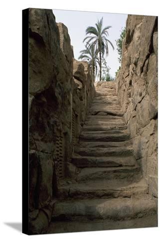 Egypt, Area around Aswan, Elephantine Island, Nilometer--Stretched Canvas Print