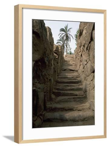 Egypt, Area around Aswan, Elephantine Island, Nilometer--Framed Art Print