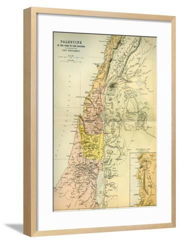 Map of Palestine Circa 1st Century A.D. from the Imperial Bible Dictionary, Published 1889--Framed Art Print