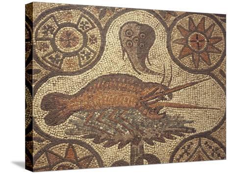 Close-Up of a Lobster Design in Mosaic, Aquileia, Friuli-Venezia Giulia, Italy--Stretched Canvas Print