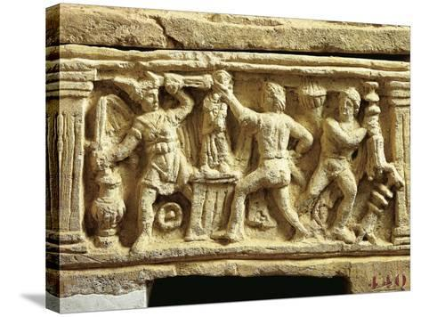 Etruscan Civilization, Tufa Urn with Scenes of Gauls Plundering Temples--Stretched Canvas Print