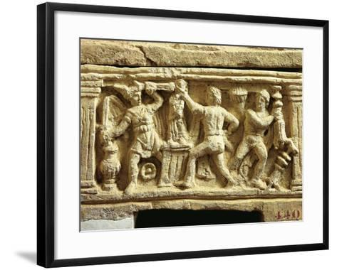 Etruscan Civilization, Tufa Urn with Scenes of Gauls Plundering Temples--Framed Art Print