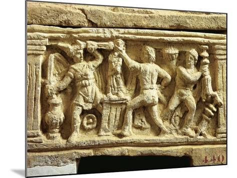 Etruscan Civilization, Tufa Urn with Scenes of Gauls Plundering Temples--Mounted Giclee Print
