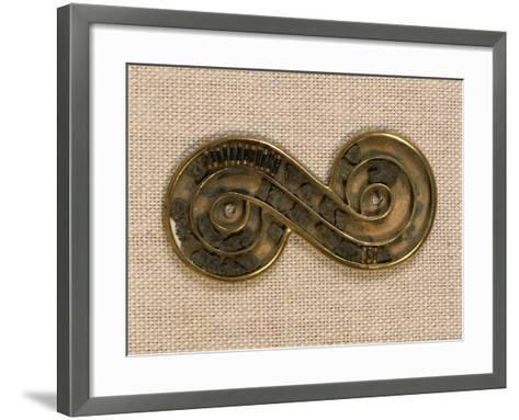 Pakistan, Harappa, Silver Brooch Edged in Gold and Ornated with Steatite Beads--Framed Art Print