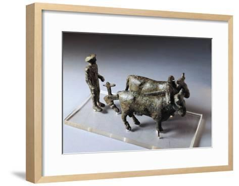 Italy, Arezzo Province, Bronze Statuette of Ploughman with Oxen--Framed Art Print