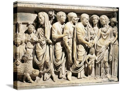 Italy, Roman Marble Sarcophagus with Relief Depicting Nuptial Rite, Celebration of Marriage--Stretched Canvas Print