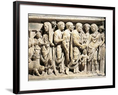 Italy, Roman Marble Sarcophagus with Relief Depicting Nuptial Rite, Celebration of Marriage--Framed Art Print
