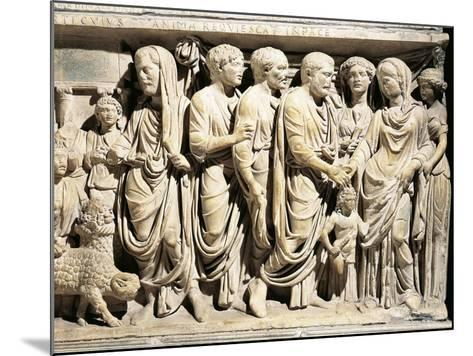 Italy, Roman Marble Sarcophagus with Relief Depicting Nuptial Rite, Celebration of Marriage--Mounted Giclee Print