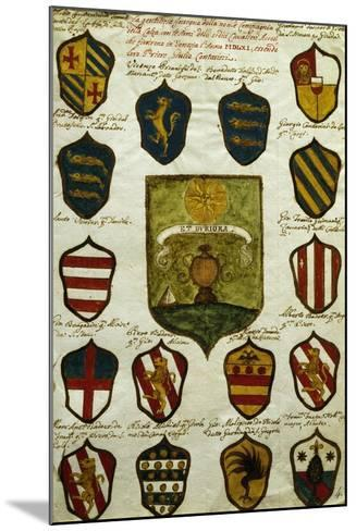 Coats of Arms for Noble Venetian Families Belonging to Brotherhood of Calza--Mounted Giclee Print