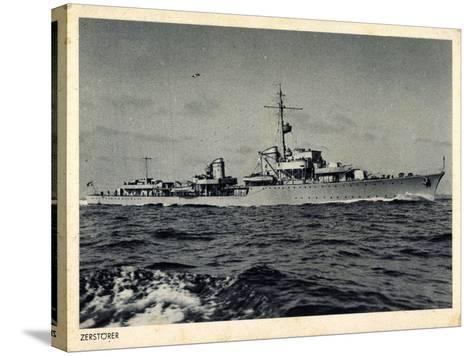 Deutsches Kriegsschiff, Zerstörer in Fahrt, Wellen--Stretched Canvas Print