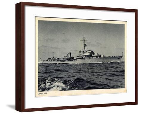 Deutsches Kriegsschiff, Zerstörer in Fahrt, Wellen--Framed Art Print