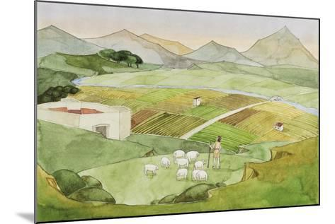 Illustration Representing Shephard Herding Sheep on Field, Italy--Mounted Giclee Print