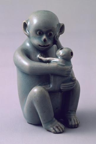 Water Dropper Vase in Shape of Monkey Hugging Her Baby Tightly, Korea--Stretched Canvas Print