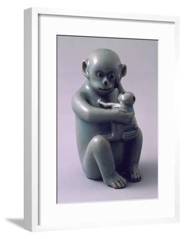 Water Dropper Vase in Shape of Monkey Hugging Her Baby Tightly, Korea--Framed Art Print