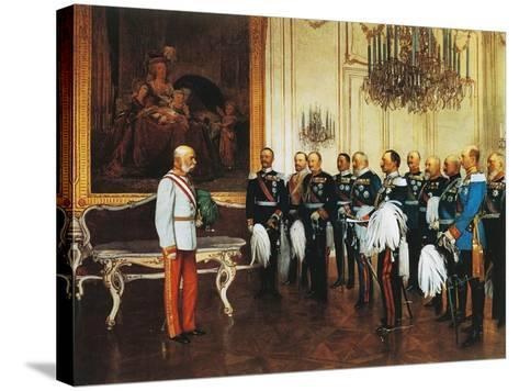 Francis Joseph and Dignitaries at Royal Palace in Vienna for Emperor's Jubilee, Austria--Stretched Canvas Print