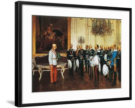 Francis Joseph and Dignitaries at Royal Palace in Vienna for Emperor's Jubilee, Austria--Framed Art Print