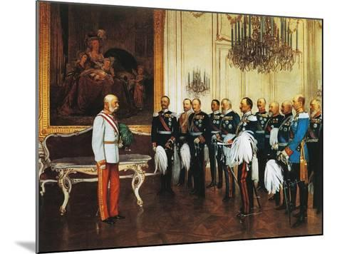 Francis Joseph and Dignitaries at Royal Palace in Vienna for Emperor's Jubilee, Austria--Mounted Giclee Print