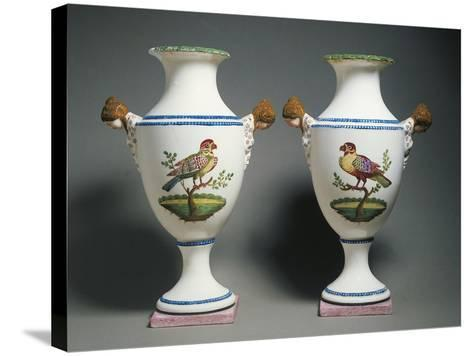 Pair of Amphora Vases Decorated with Birds--Stretched Canvas Print