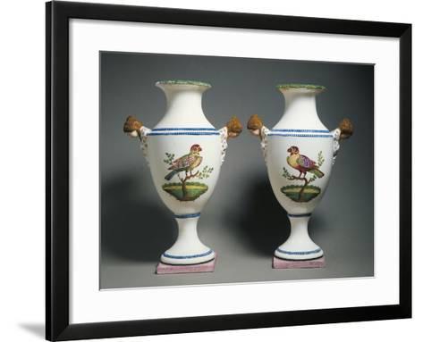 Pair of Amphora Vases Decorated with Birds--Framed Art Print